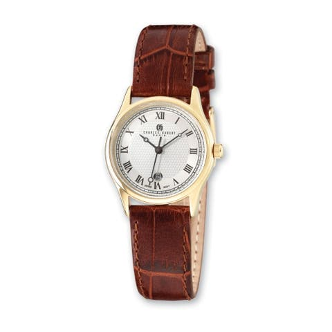 Ladies Charles Hubert IP-plated Stainless Steel Leather Band 29mm Watch by Versil - Silver