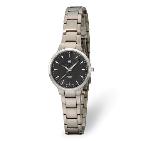 Ladies Charles Hubert Titanium Black Dial Ultra Slim Watch by Versil
