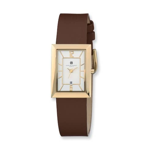 Charles Hubert IP-plated Silver Rectangle Dial Quartz Watch by Versil