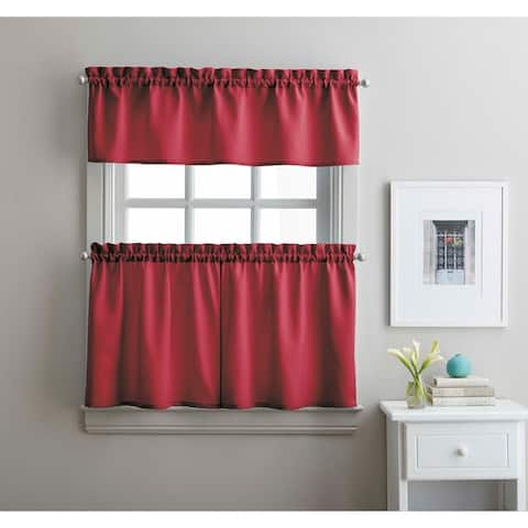Twill 3-Piece Kitchen Curtain Tier Set