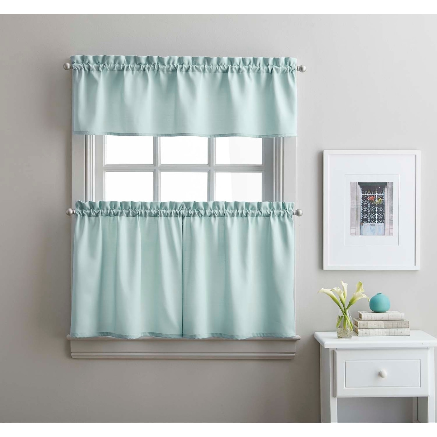 Twill 3 Piece Kitchen Curtain Tier Set