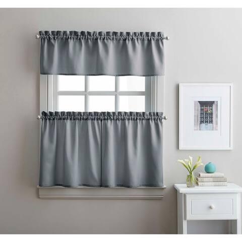 Twill 3-Piece Kitchen Curtain Tier Set
