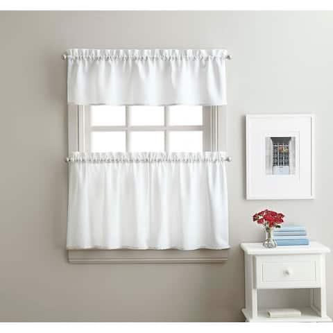 Solid Twill 3-Piece Kitchen Curtain Tier Set