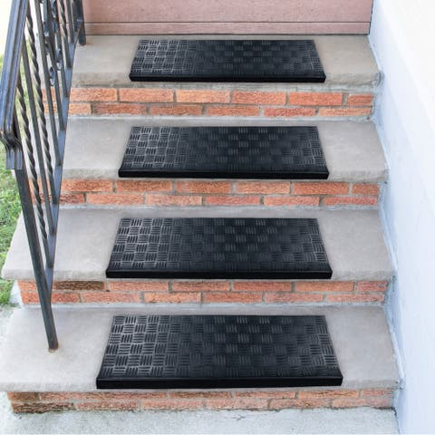 Ottomanson DirtOff Black Square-Nosed Rubber Stair Treads - 9.85'' x 29.53''
