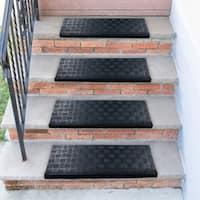 Ottomanson DirtOff Black Square-Nosed Rubber Stair Treads - 9.85'' x 29.53''