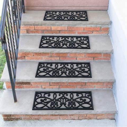 Ottomanson DirtOff Iron Cutout Slice Scroll Design Rubber Stair Treads - 9.85'' x 29.53''
