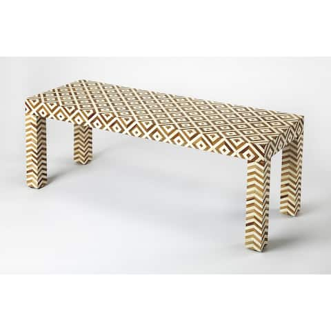 Butler crispin wood & bone inlay bench