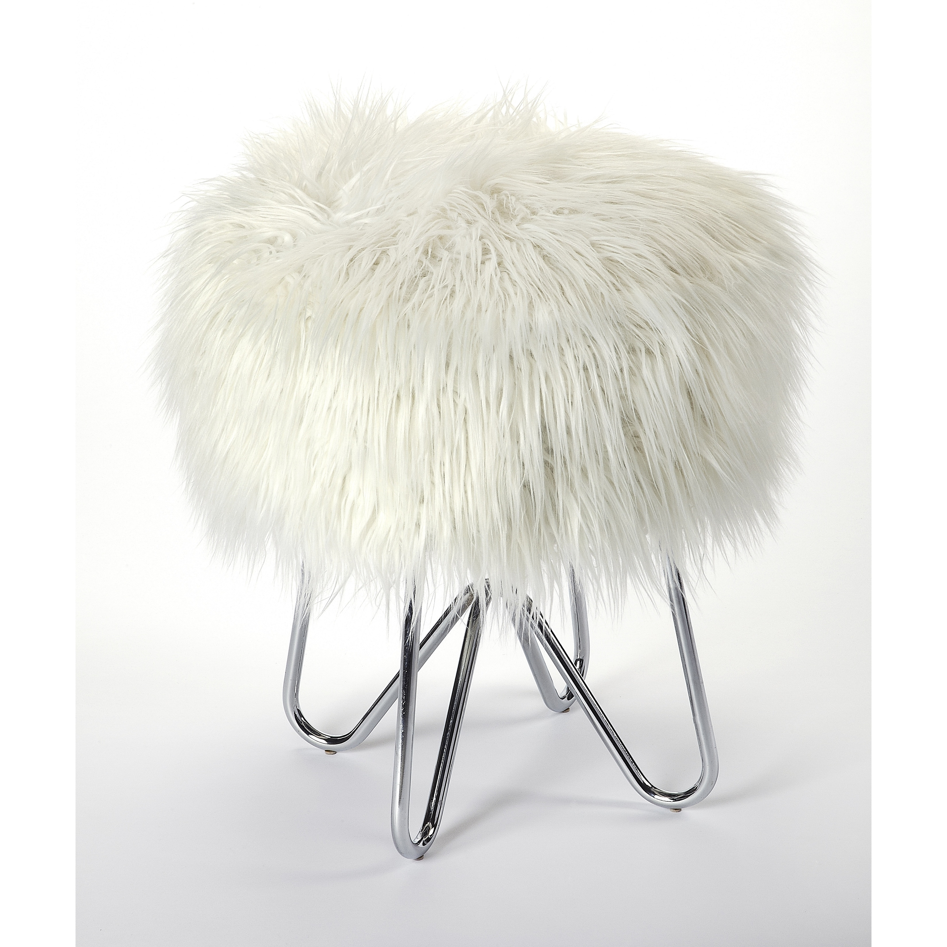 Image of: Shop Black Friday Deals On Handmade Butler Ezra White Faux Fur Stool Overstock 27102381
