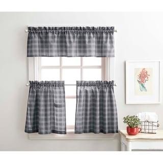 "Lodge Plaid 3-Piece Kitchen Curtain Tier and Valance Set - 36"" 3PC SET"