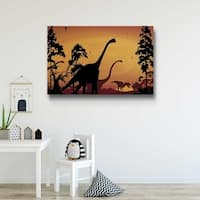 Dinosaur Landscape Orange Gallery Wrapped Canvas