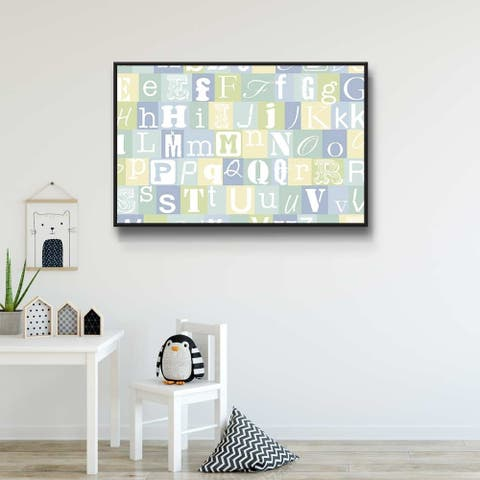 Now I Know My Abc's Blue Gallery Wrapped Floater-framed Canvas