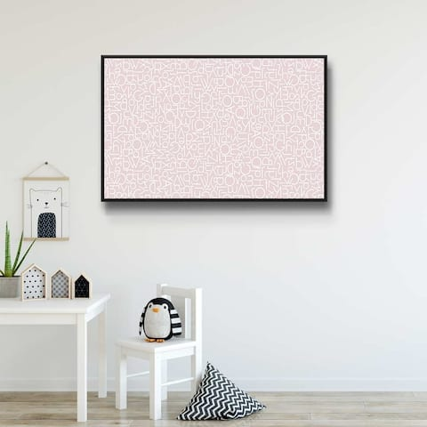 Alphabetical Pink IV Gallery Wrapped Floater-framed Canvas