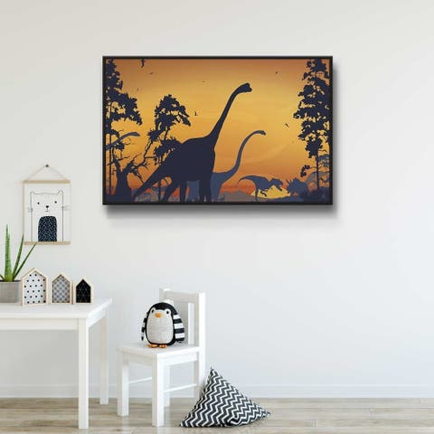 Dinosaur Landscape Blue Gallery Wrapped Floater-framed Canvas