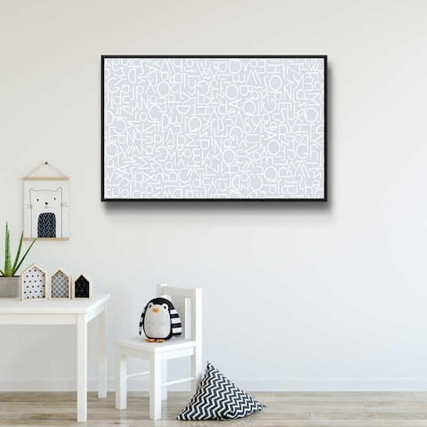 Alphabetical Blue III Gallery Wrapped Floater-framed Canvas