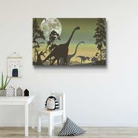Dinosaur Landscape Sage Gallery Wrapped Canvas