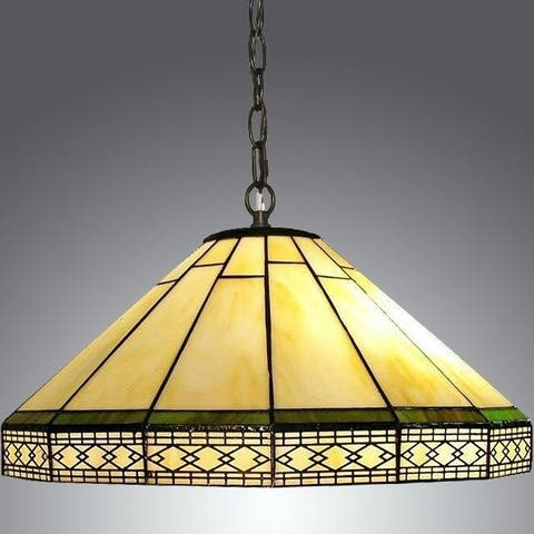 Tiffany-style 2-light Yellow and Green Roman Hanging Pendant Light