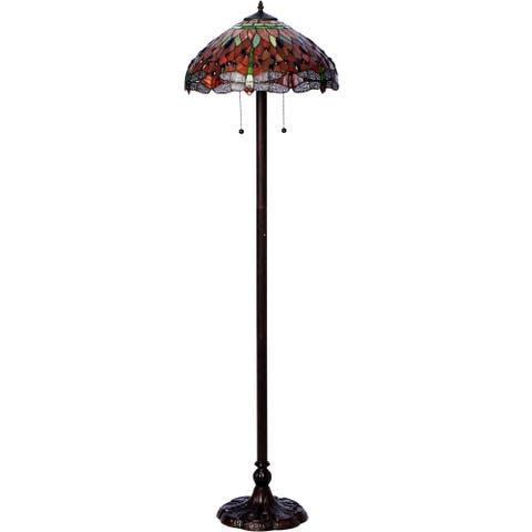 Copper Grove Simeonov Tiffany-style Dragonfly Floor Lamp