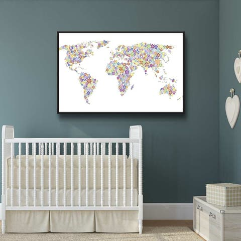 Peace & Love World Map Gallery Wrapped Floater-framed Canvas