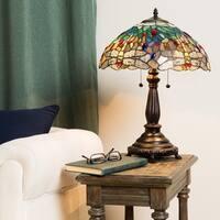 Copper Grove Simeonov Tiffany-style Blue Dragonfly Table Lamp