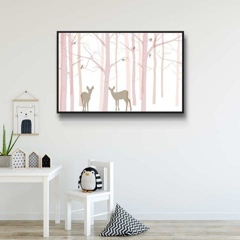 Forest Friends III Gallery Wrapped Floater-framed Canvas
