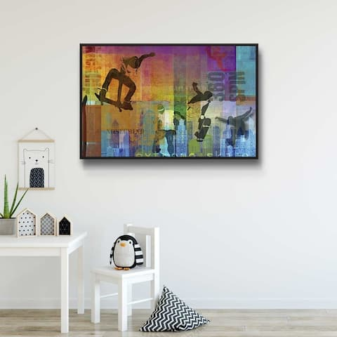 Extreme Skateboarding Gallery Wrapped Floater-framed Canvas