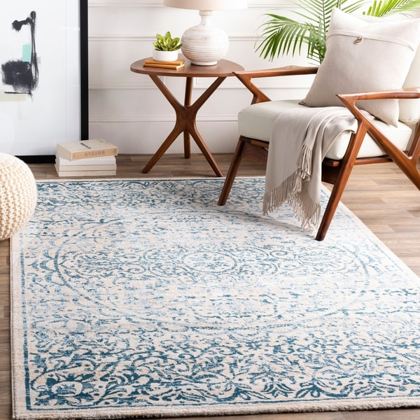 Verdand Teal Blue/Ivory White Updated Traditional Area Rug