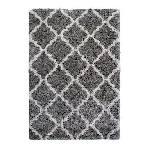 "Laura Ashley Luxury Gray Trellis Shag Area Rug (7'10"" X 10') by Gertmenian - 7'10"" X 10'"