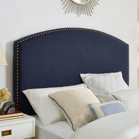 Cassie Curved Upholstered King/Cal King Headboard In Navy Linen