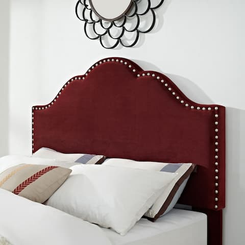 Preston Camelback Upholstered King/Cal King Headboard in Merlot Microfiber