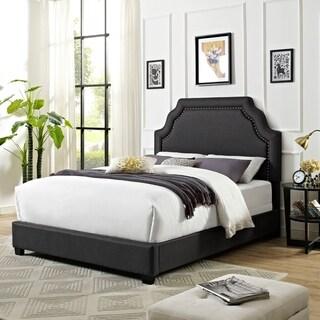 Loren Keystone Upholstered Queen Bedset In Charcoal Linen