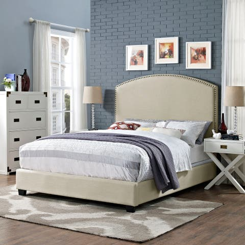 Cassie Curved Upholstered Queen Bedset In Crème Linen