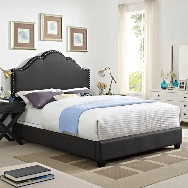 Preston Camelback Upholstered King Bedset In Charcoal Linen