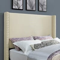 Casey Wingback Upholstered King/Cal King Headboard In Crème Linen