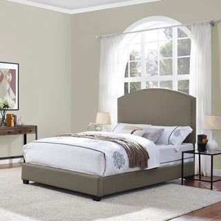 Cassie Curved Upholstered King Bedset In Shadow Gray Linen