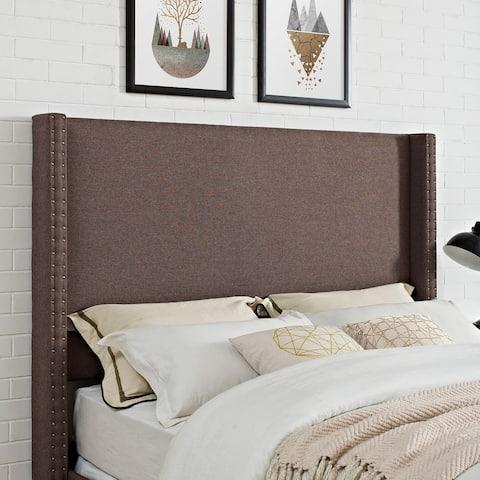 Casey Wingback Upholstered King/Cal King Headboard in Bourbon Linen