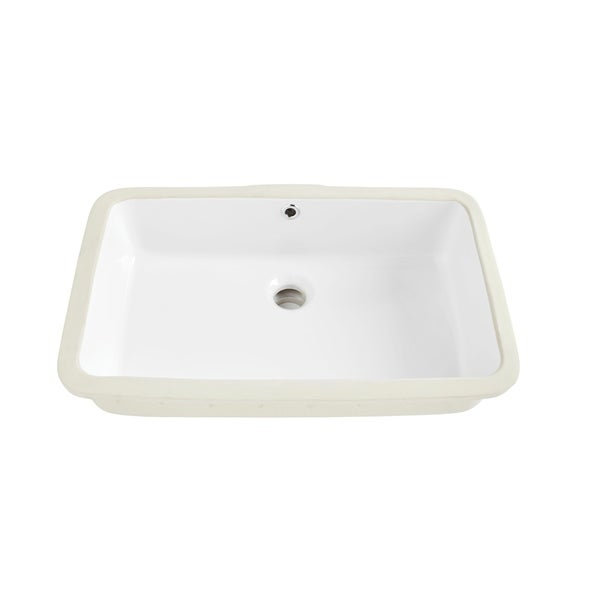 Sinkology Carder Rectangle Undermount Vitreous China Bathroom Sink in White with Overflow Drain