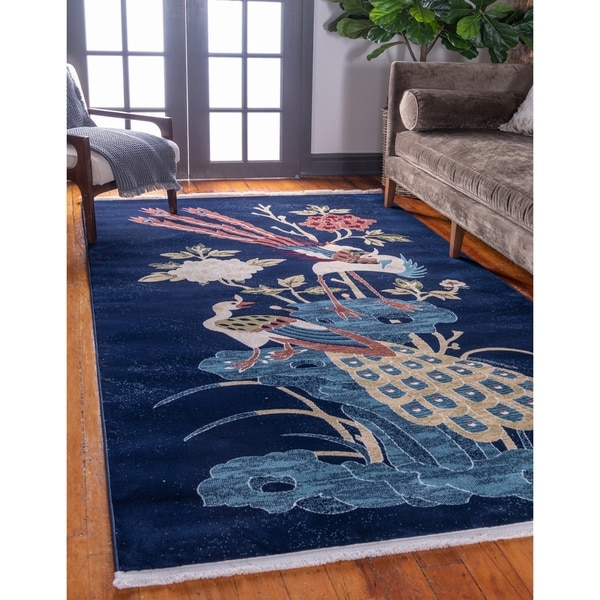 Shop Unique Loom Gansu Harmony Blue Area Rug 4 X 6