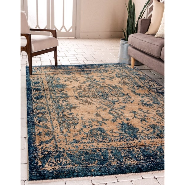 Copper Grove Jermuk Blue and Tan Area Rug