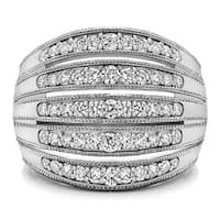 Sterling Silver Large Domed Milgrained Anniversary Band with Cubic Zirconia  (0.52 Cts. twt)