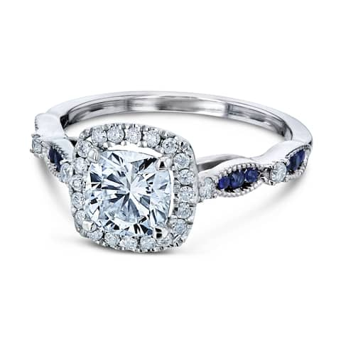 Annello by Kobelli 14k White Gold 1 2/5 Carat TGW Moissanite, Diamond, and Blue Sapphire Cathedral Halo Engagement Ring