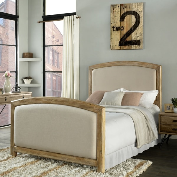 Cambria Queen Headboard And Footboard In Weathered Pine And Crème Linen