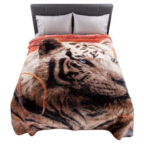 Porch & Den Galbraith Heavy Plush Throw Blanket with Wildlife Designs