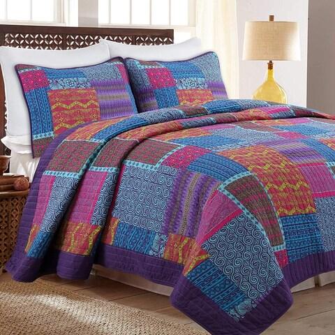 Cozy Line Aldiana 3-Piece Patchwork Reversible Cotton Quilt Set - Blue/Pink/Purple
