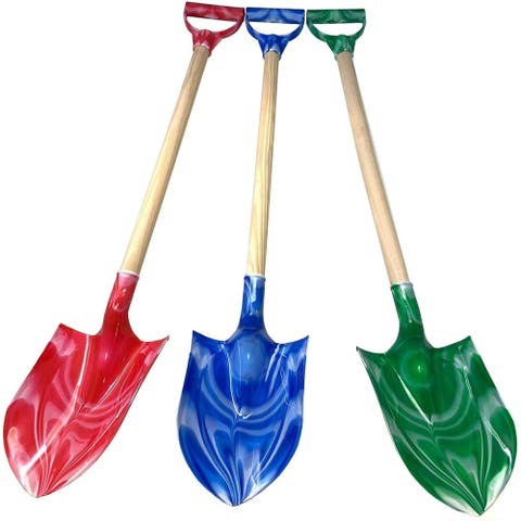 Kids Assorted Beach Toy Sand Shovel with Plastic Spade with Wood Handle