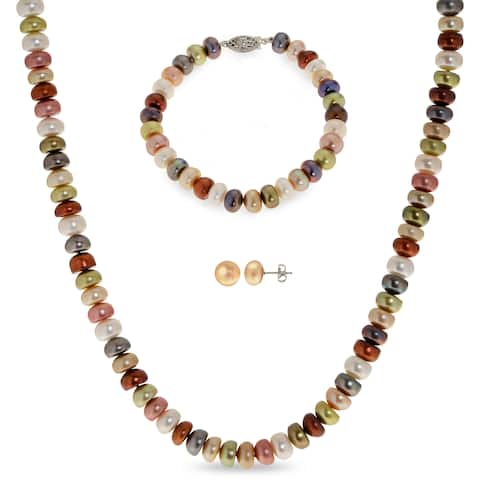 PearLustre by Imperial Sterling Silver Multi-color Necklace, Bracelet and Earring Set