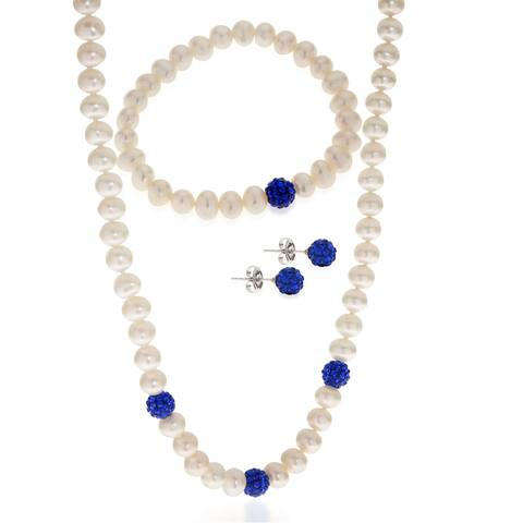 PearLustre by Imperial 3pc Sterling Silver Freshwater Pearl and Blue Crystal Bead Set