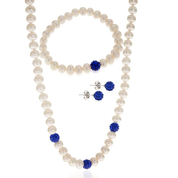 PearLustre by Imperial 3pc Sterling Silver Freshwater Pearl and Blue Crystal Bead Set. Opens flyout.