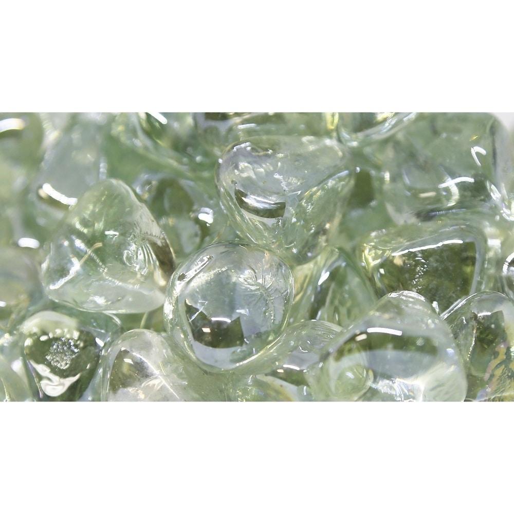 "1"" Ice Luster Fireglass Diamonds 10lb box (Clear)"