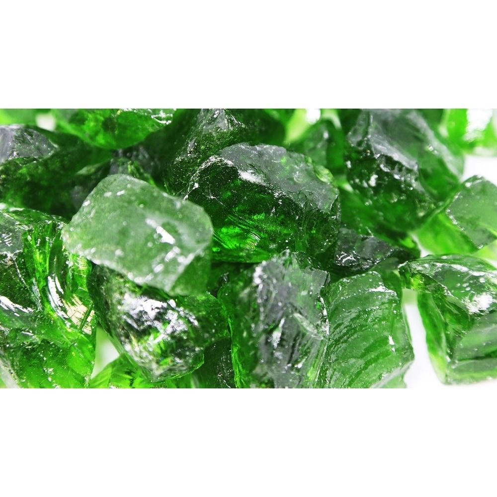 """1 1/2"""" Light Green Fireglass Rocks 10lb Box (Green)"""