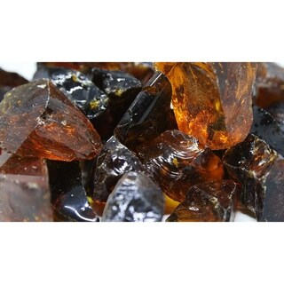 "1 1/2"" Amber Fireglass Rocks- 10lb box"